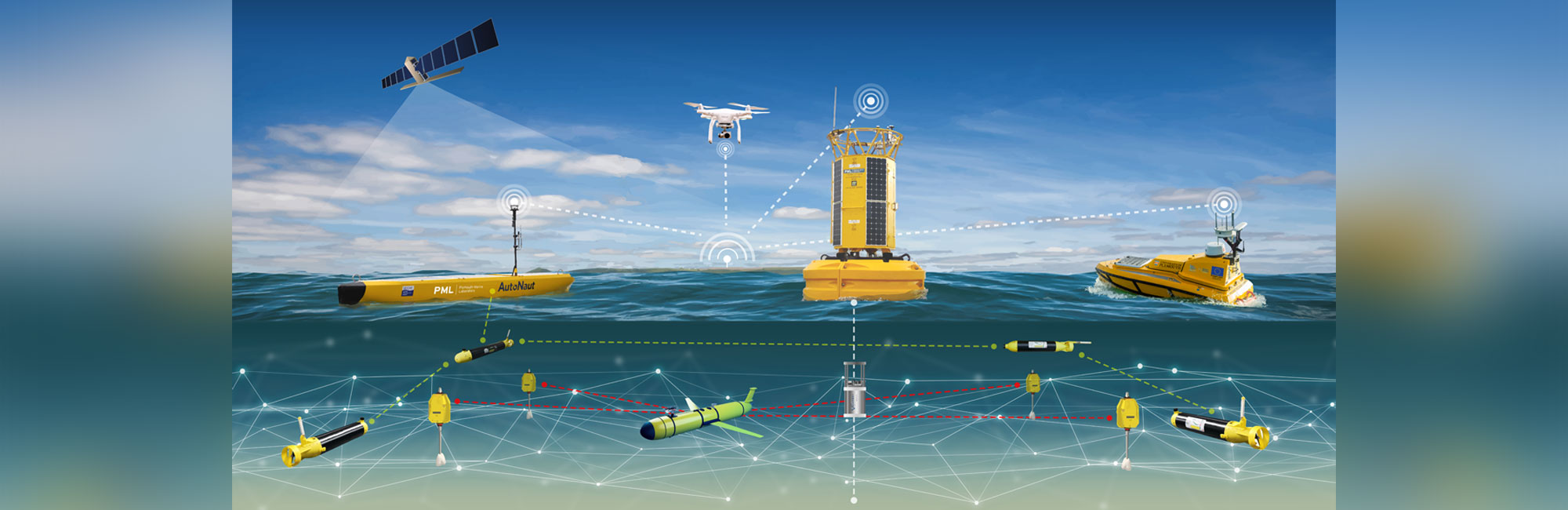 Digital illustration showing sea surface and below surface vessels and elements that make up the smart sound such as a drone, satellite, vessels and underwater gliders