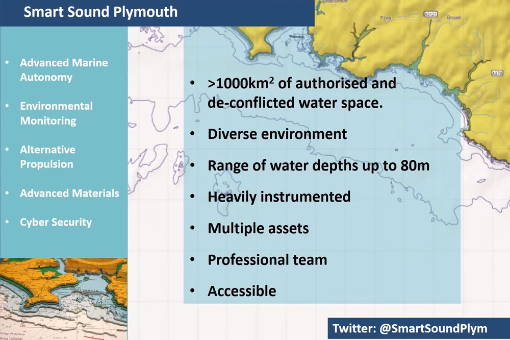 Screenshot of the webinar showing a map and bullet list of information about Smart sound plymouth