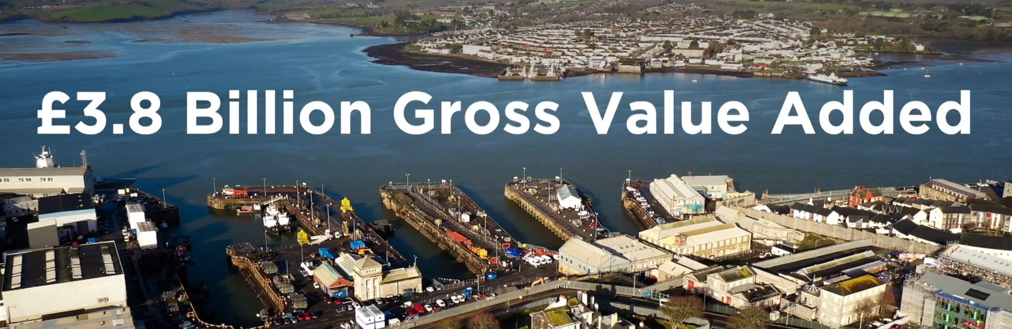 Screen shot of the video showing aerial view of devonport, Plymouth