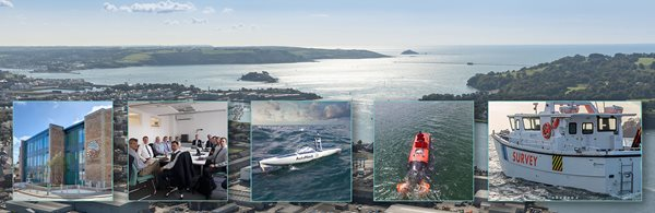 Aerial view of plymouth sound with overlaid images of various industrial facilities